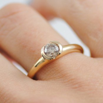 Partial Bezel Set Champagne Diamond (0.51ct) Ring in 18K Yellow Gold