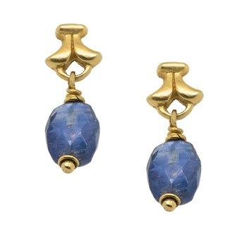 Kyanite Bead Earrings in 18K Yellow Gold
