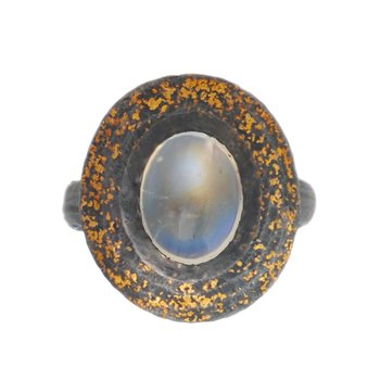 Moonstone (2.62ct) Ring in Oxidized Silver with Gold Dust