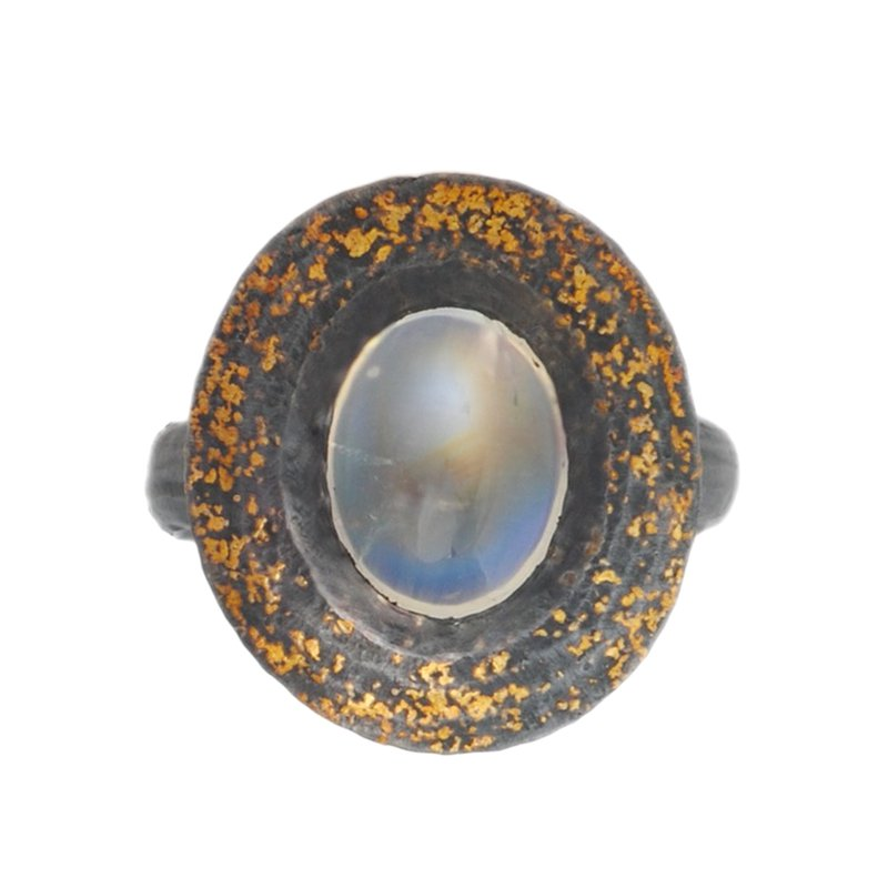 Michael Endlich Designs Moonstone (2.62ct) Ring in Oxidized Silver with Gold Dust