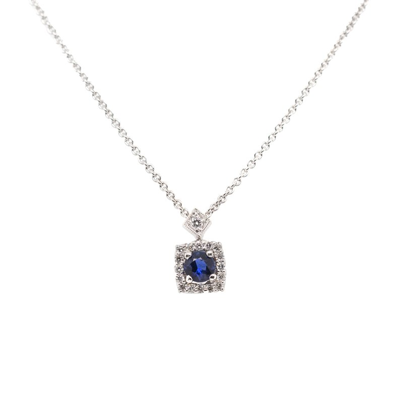Extended Collection Sapphire and Diamond Necklace in White Gold