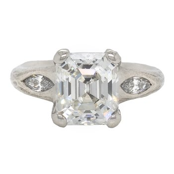 Diamond (3.96ct) Ring with Platinum Redwood Bark Texture