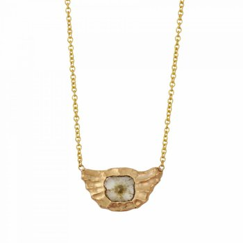 18K Gold Redwood Texture & Diamond Slice Necklace