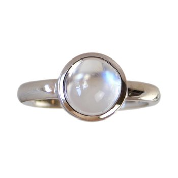 Blue Moonstone (3.4ct) Ring in 18K White Gold