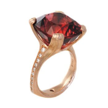 Peach Tourmaline (24.55ct) Ring with Diamond Accents in 18K Rose Gold