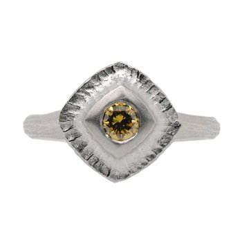 Rectangular Platinum Ring with a Yellow Diamond (0.26ct) Center