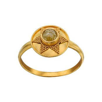 Rustic Diamond Ring with Granulation Sun Shape in 18K Gold