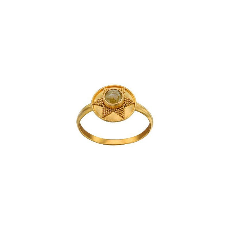 Extended Collection Rustic Diamond Ring with Granulation Sun Shape in 18K Gold