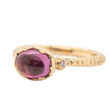 """Ripple in the Well"" Ring with Tourmaline and Diamonds in Rose Gold"