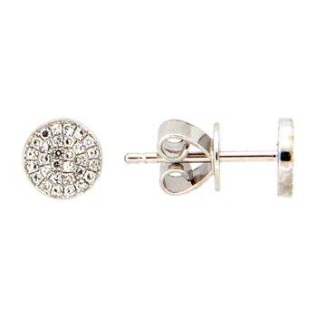 Pavé-Set Diamond Studs in White Gold