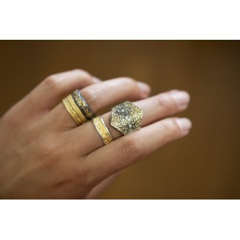 Oxidized Silver and Gold Dust Shield Ring