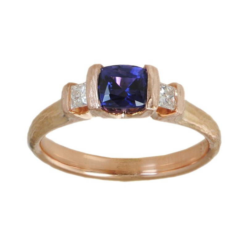 Michael Endlich Designs Purple Sapphire Ring with Diamond Accents in 18K Rose Gold