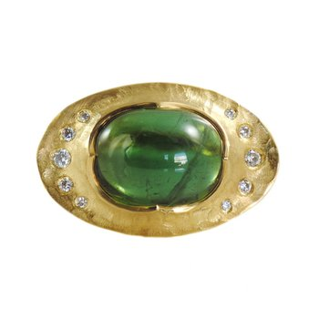 Cabochon Tourmailne (7.32ct) Ring with Flush Set Diamonds in 22K Gold