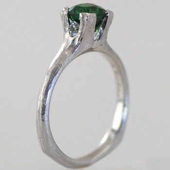 """Green Valley"" Tsavorite Garnet (1.22ct) Ring With Diamond Accents in Platinum"