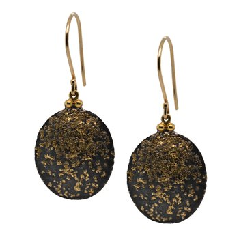 Oval Oxidized Silver and Gold Dust Earrings