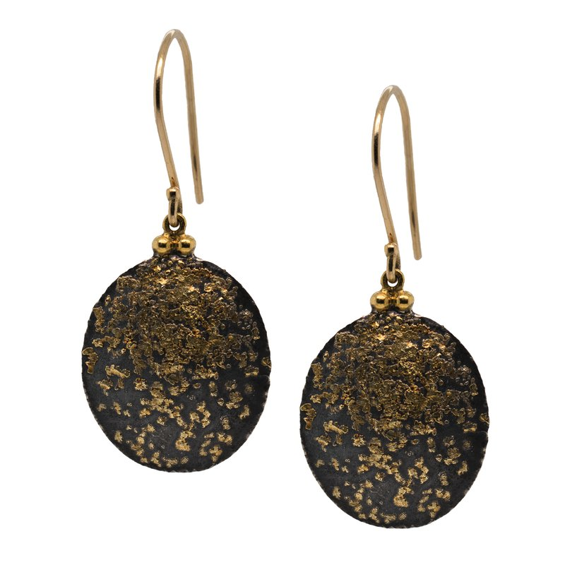 Michael Endlich Designs Oval Oxidized Silver and Gold Dust Earrings