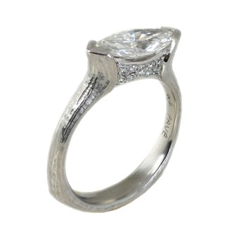 Marquise Diamond (1.44ct) Ring with Diamond Accents in Platinum