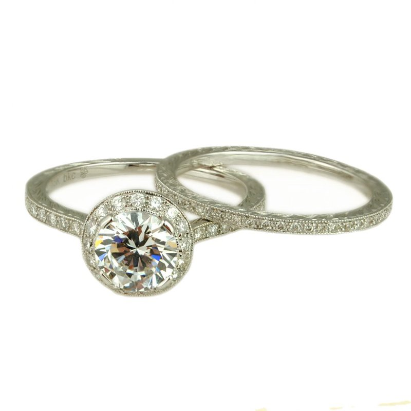 Extended Collection Semi-Mount with Halo and Matching Eternity Band in 18K White Gold