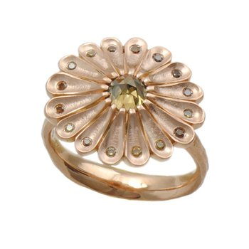 Flower Ring with Autumn Colored Diamonds, 16 Petals in 18K Rose Gold