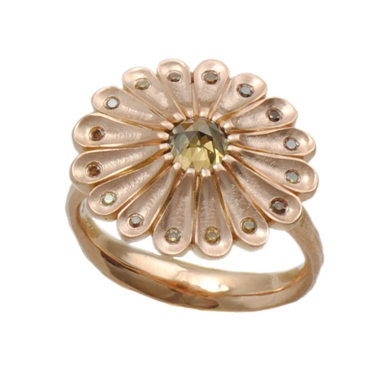 Michael Endlich Designs Flower Ring with Autumn Colored Diamonds, 16 Petals in 18K Rose Gold