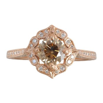 Floral Ring with an Orange-Brown Diamond and Diamond Accents in 18K Rose Gold