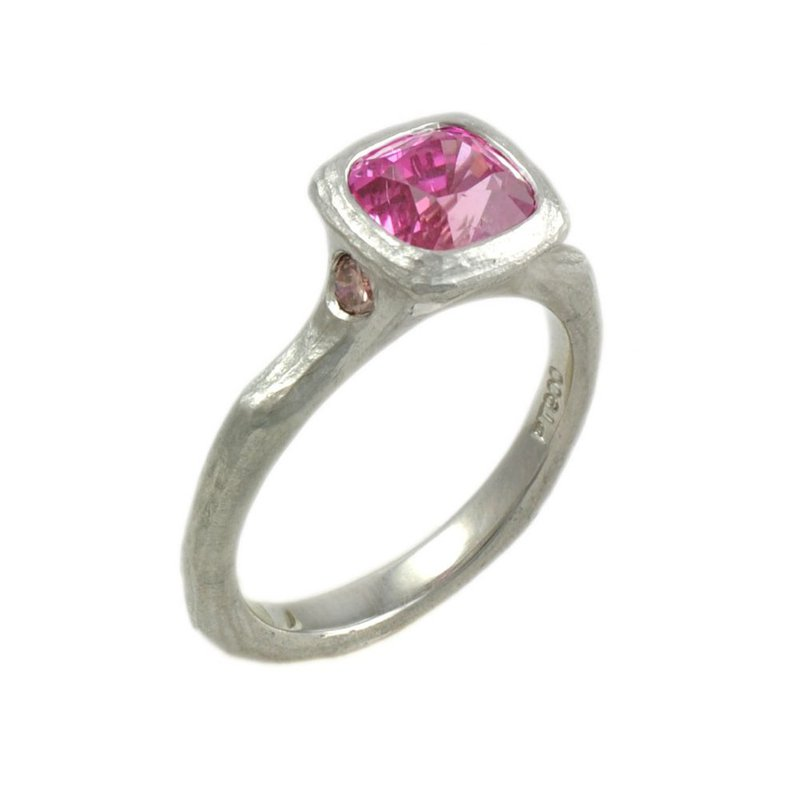 Michael Endlich Designs Pink Sapphire (2.73ct) Ring with Diamond Accents in Platinum