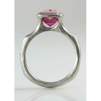Pink Sapphire (2.73ct) Ring with Diamond Accents in Platinum