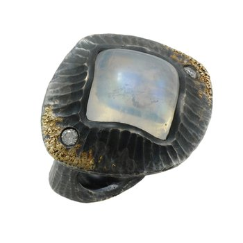 Moonstone Statement Ring in Oxidized Silver with Gold Dust