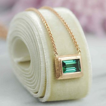 Tourmaline (2.74ct) Necklace with Textured 18K Rose Gold