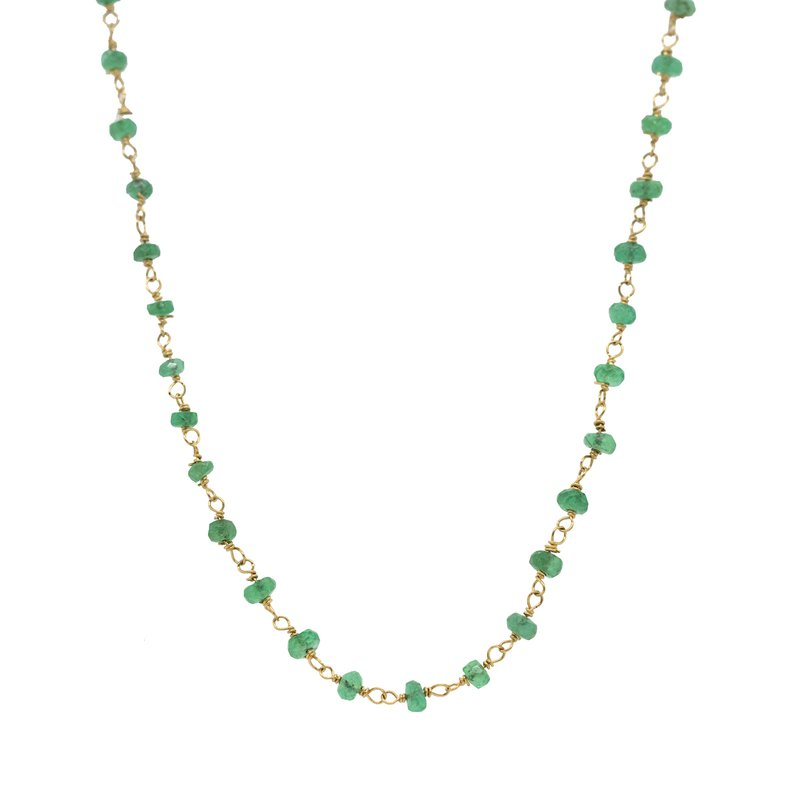 Extended Collection Emerald Beads Gold Necklace
