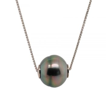 Dark Tahitian Pearl and White Gold Necklace