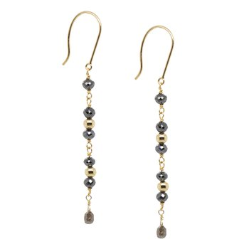 Black Diamond and Gold Drop Earrings