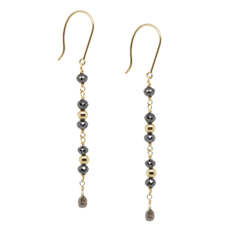 Extended Collection Black Diamond and Gold Drop Earrings