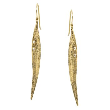 Gold Leaf Earrings with Diamond Accents