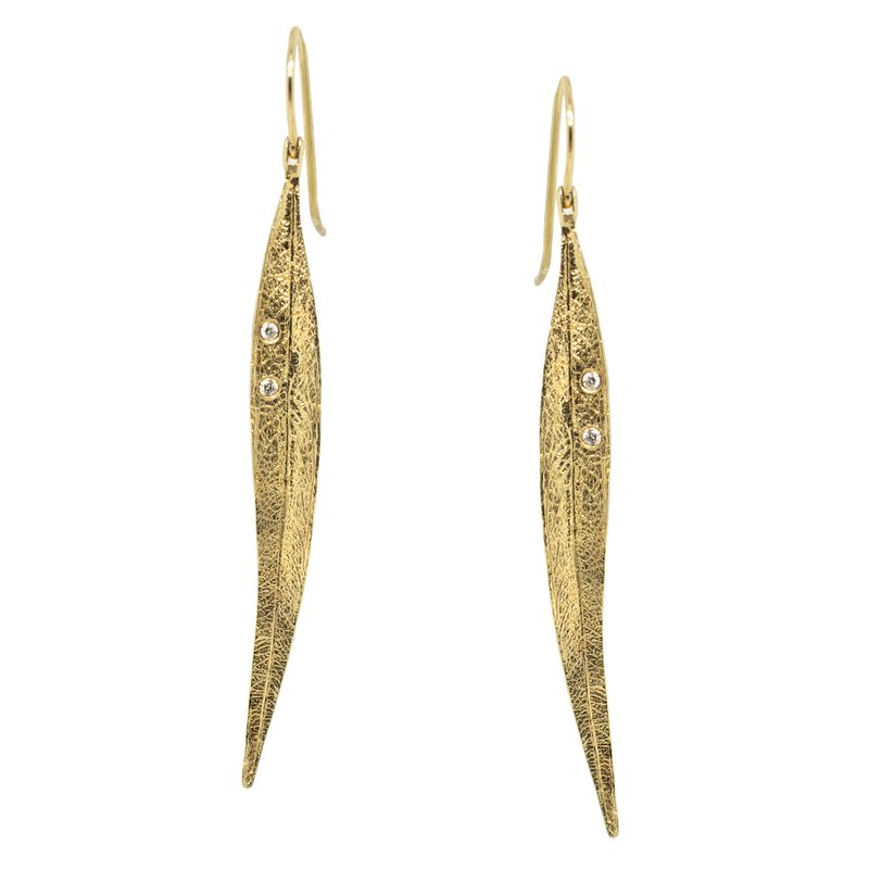 Extended Collection Gold Leaf Earrings with Diamond Accents