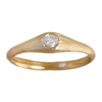 Yellow Gold and Flush-Set Diamond (0.14ct) Solitaire Ring