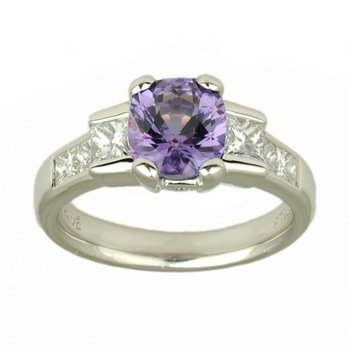 Purple Spinel (1.78ct) Ring Flanked with Diamonds in Platinum