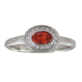 Orange Sapphire (0.52ct) Ring with Diamond Halo in Platinumm