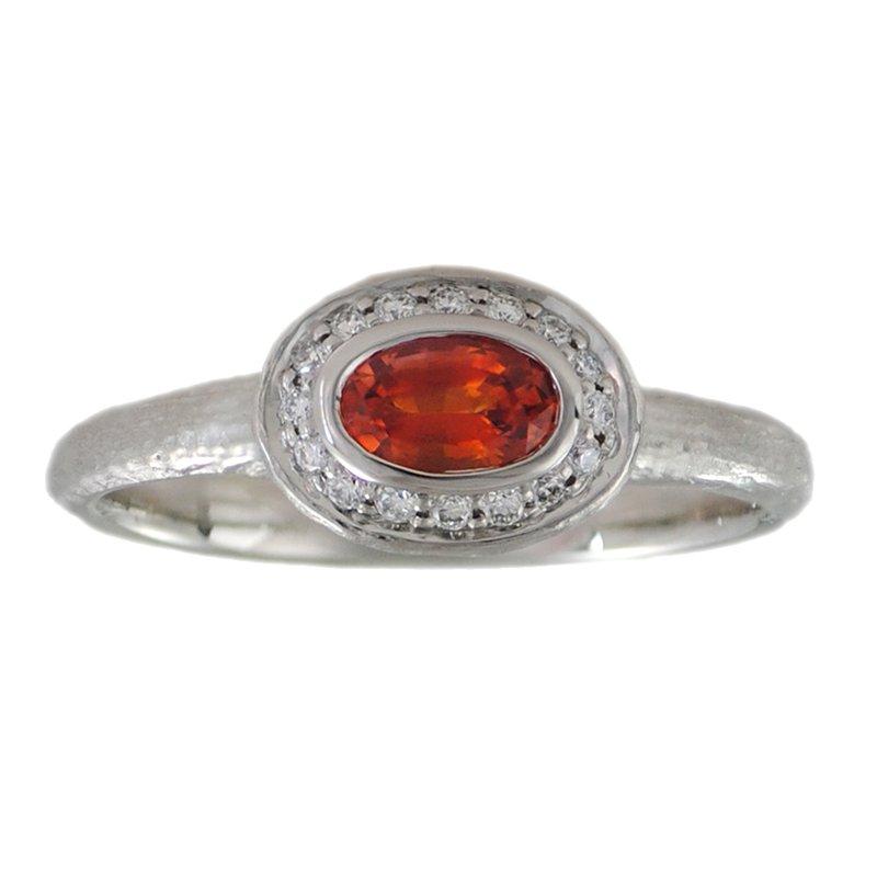 Michael Endlich Designs Orange Sapphire (0.52ct) Ring with Diamond Halo in Platinumm