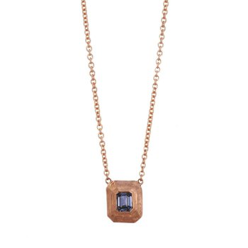 Textured Rose Gold and Purple Sapphire (0.45ct) Necklace