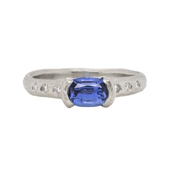 Sapphire (1.28ct) Ring with Diamond Accents in Platinum