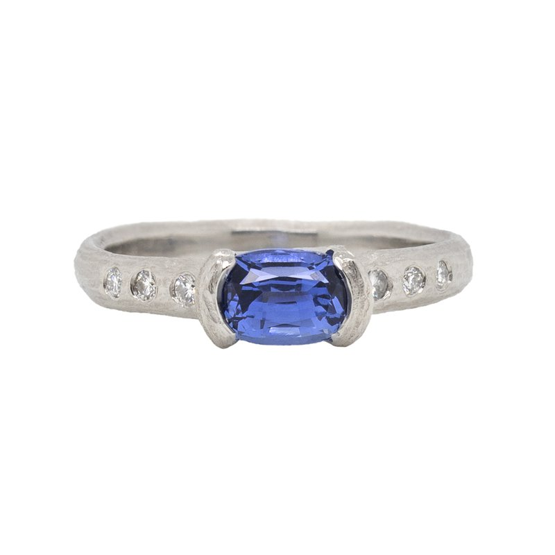 Michael Endlich Designs Sapphire (1.28ct) Ring with Diamond Accents in Platinum