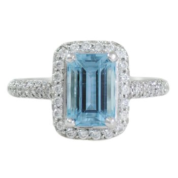 Aquamarine (1.90ct) Ring with Diamonds in Platinum