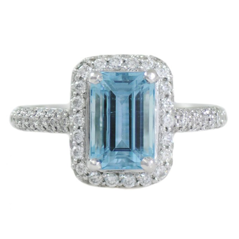 Extended Collection Aquamarine (1.90ct) Ring with Diamonds in Platinum