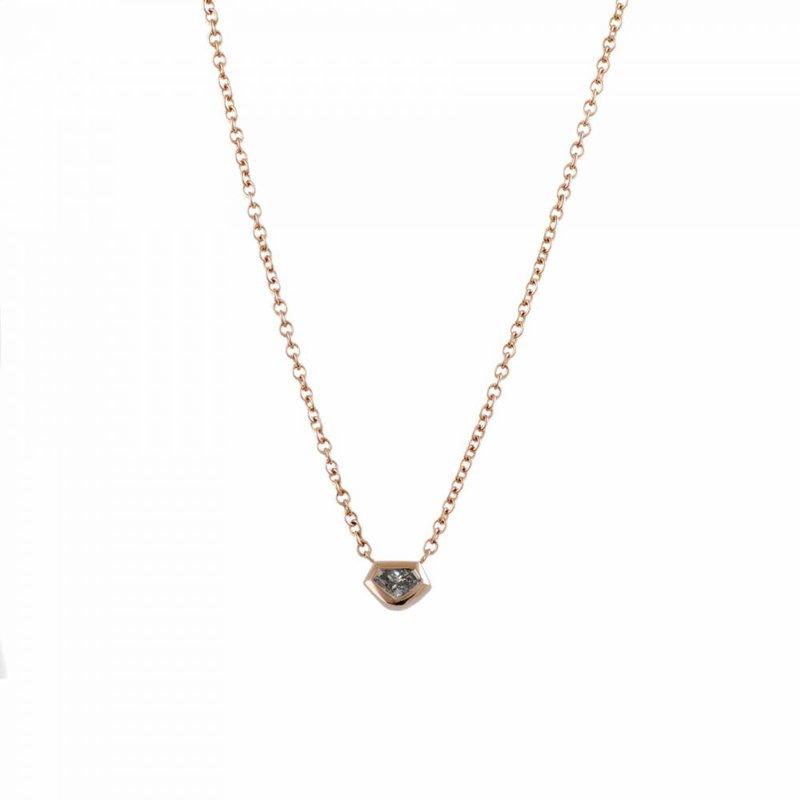 Pavé Fine Jewelry 18K Rose Gold Kite Shaped Diamond (0.17ct) Necklace