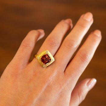 Orange Feldspar Ring in 22K Gold with Diamonds