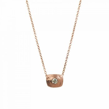 Textured Rose Gold and Yellow Diamond (0.18ct) Necklace