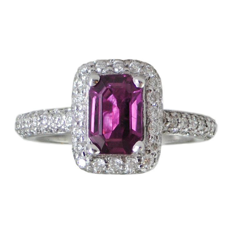 Extended Collection Pink Sapphire (1.40ct) Ring with Diamond Halo in Platinum