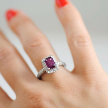 Pink Sapphire (1.40ct) Ring with Diamond Halo in Platinum
