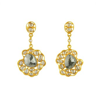 Gray Diamonds Suspended Earrings in 18K Gold